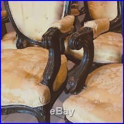 Huit fauteuils Napoléon III palissandre massif teint bois noirci. XIX siècle