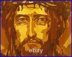 Icône chrétienne byzantine russe orthodoxe sur bois marqueterie Jésus