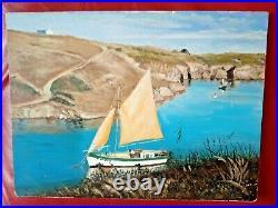 Ile d'Yeu port de la Meule Bretagne huile sur bois