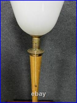 Importante Lampe de bureau Mazda époque Art Déco en bois clair vers 1940