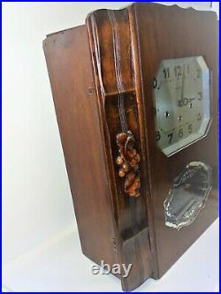 JOLI CARILLON PENDULE MURALE GIROD WESTMINSTER BELLE CAISSE NOYER & Placage 1940