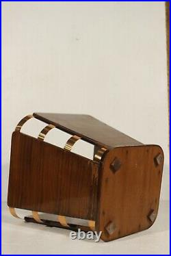 Jacques Emile Ruhlmann Corbeille à papier bois & cuivre circa 1930