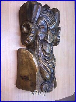 Jean ROUPPERT (1887-1979) sculpture bois tête de faune (H54cm)