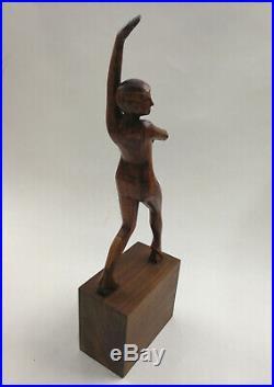 Jean Rouppert (1887-1979), Danseuse art-déco (sculpture en bois, H31 cm)