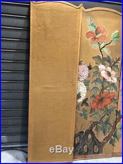 Joli Paravent 4 Feuilles En Bois Avec Peinture Sur Papier Style Art Deco