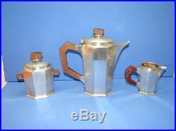 Joli service à thé, bois et métal argenté, 1930, art déco