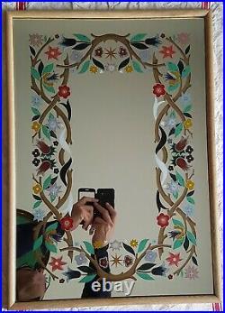 Joyeux Miroir Eglomise Fleurs Polychromes Vers 1950/ 1960 Baguette Chene Naturel