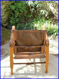 Kaare Klint fauteuil Scandinave Safari cuir et bois démontable année 1930