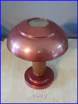LAMPE de table CHAMPIGNON CUIVRE-BOIS-VERRE-ART DéCO DESIGN 1920-50-ANCIEN