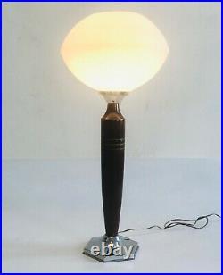 Lampe Art Déco 1930/40 Bois Alu Opaline
