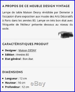 Lampe DESNY Edition Demeter Verre et bois Réédition Art Déco Moderniste