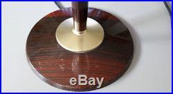 Lampe MAZDA art deco bois, métal, opaline blanche année 30