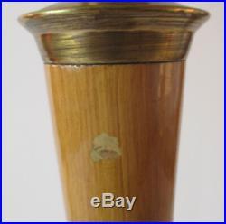 Lampe MAZDA art déco en bois peint avec Tulipe opaline hauteur 78 cm