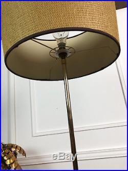 Lampe Sur Pied / Lampadaire Design Des Années 70 En Bois Et Métal Doré 145cm H