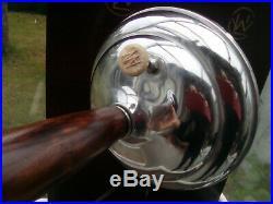 Lampe art déco 1930/40, chrome, bois, 67 cm
