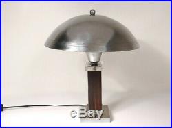 Lampe de bureau Art Déco champignon palissandre chrome verre XXème siècle
