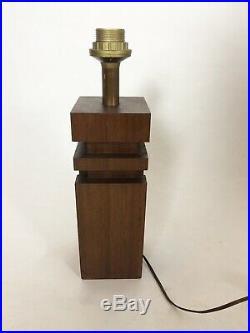 Lampe moderniste bois Teck ou Acajou style art déco dlg adnet Annees 60-70 wood