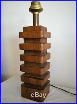 Lampe moderniste bois acajou cubiste style art déco dg adnet
