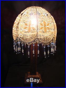 Lampes de chevet Art Déco en bois dépoque, abat jour dépoque