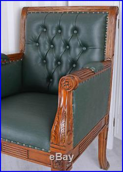 Library Chair Fauteuil en Cuir Bois d'acajou massif Chesterfield vert chaise