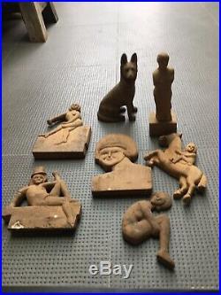 Lot 7 sculpture sur bois 1930 art populaire art deco, bas relief animalier
