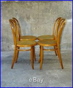 Lot de 4 chaises bistrot assise bois étoile 1910 FIUME (no Thonet no Baumann)