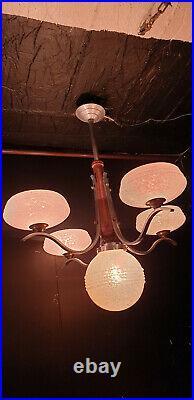 Lustre Art Déco en Aluminium &bois 4 bras 5feux vintage chandelier ceiling light