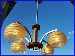 Lustre Art Déco en métal verre et bois, Chandelier ceiling light 4 light