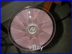 Lustre art déco moderniste bois & métal chromé à coupelles rose à décor de blé