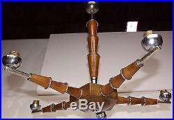 Lustre étoile 5 lumières art-déco moderniste 1930. Laiton chromé, bois