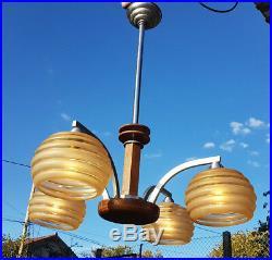 Lustre original Art Déco en métal verre et bois, Chandelier ceiling light 4 light