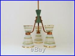 Lustre, suspension, luminaire Art Déco à 3 globes et structure cuivre et bois
