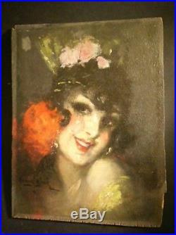 MARCEL BLOCH Gitane huile sur bois, art déco oil painting