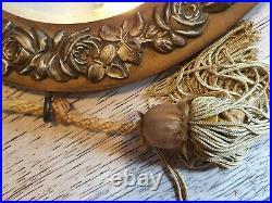 MIROIR OVALE1920 ART DÉCO en BOIS décors de roses sculptés /Verre Biseauté
