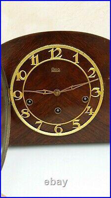Magnifique Carillon horloge Odo de cheminée en bois 5 tiges 5 marteaux