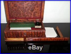 Magnifique boite à secrets, boite à système en loupe de thuya massif-Début XXème