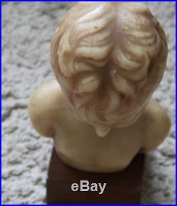 Magnifique rare école française buste d'enfant cire socle bois env 1900 Art déco