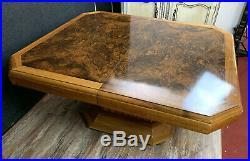 Magnifique table a allonges époque Art Deco en 2 tons de bois fruitier