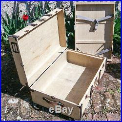 Malle Valise En Bois 1930-40 Ancienne + Clé Art Deco Wood Travel Trunk + Key