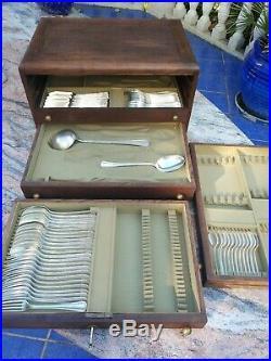 Ménagère Christofle métal argenté coffret bois 62 pièces Boréal art deco
