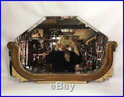 Miroir / Glace Des Années 40 En Bois Sculpté Et Nacré Avec Miroir Au Mercure