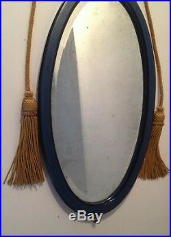 Miroir Ovale Biseaute Bois Stuc Laque Bleu Noir Pompons Epoque Art Deco