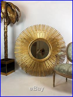 Miroir Soleil En Bois D'acajou Doré De 125 CM De Diamètre Des Années 70