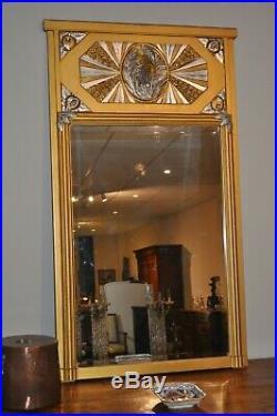 Miroir Trumeau Ancien Epoque Art Déco En Bois Doré Et Argenté Glace Biseautée An