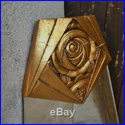 Miroir biseauté trapèze Roses bois sculpté doré Rennie Mackintosh Era Art Deco