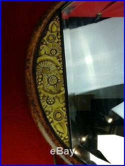 Miroir rond art déco ancien bois peint et doré cordon pompon fil métal doré 59cm