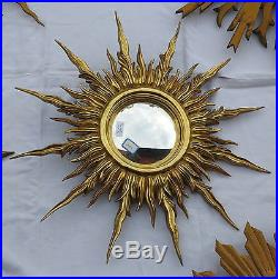 Miroir soleil Convexe, bois doré 56