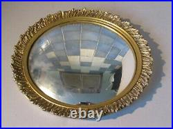 Miroir sorcière vers 1920-40. Art Déco, stuc doré 32cm