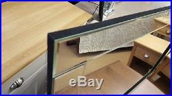Moderne Art Déco Miroir Mural Transparent Uni Verre Design Bord Biseauté Argent