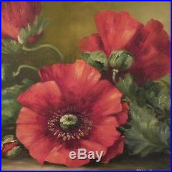 N2019 tableau peinture huile sur panneau bois coquelicots art déco PN France